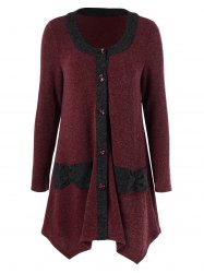 Button Up Asymmetrical Cardigan - RED WITH BLACK XL