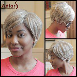 Adiors Short Fluffy Oblique Bang Color Mixed Synthetic Wig