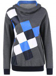 Square Print Drop Shoulder Hoodie