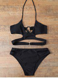 Wire Free Cut Out Halter Bikini Set - BLACK XL
