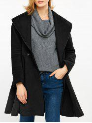 Shawl Collar Skirted High Waist Coat - BLACK