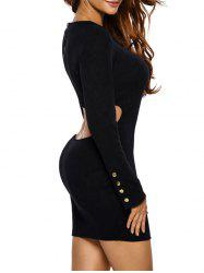 Long Sleeve Cut Out Casual Jersey Bodycon Dress -