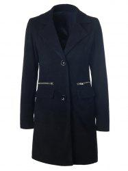 Zipper  Pocket Long Wool Blend Coat