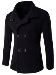 Belt Design Double Breasted Woolen Blends Coat - BLACK
