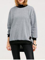 High Neck High Low Slit Sweatshirt