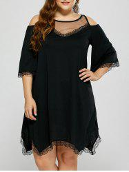 Cold Shoulder Sheer Mesh Plus Size Club Dress - BLACK