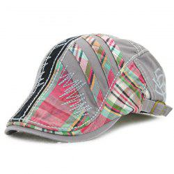 Plaid Stripy Cabbie Newsboy Cap with Sewing Thread - GRAY