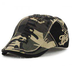 Camouflage Print 1985 Newsboy Cap with Applique -