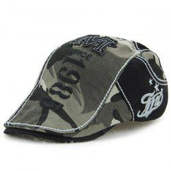 Camouflage Print 1985 Newsboy Cap with Applique