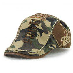 Camouflage Print 1985 Newsboy Cap with Applique - COFFEE