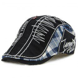 Sewing Thread Tartan Newsboy Cap with Embroidery - BLACK