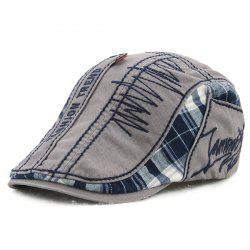 Sewing Thread Tartan Newsboy Cap with Embroidery