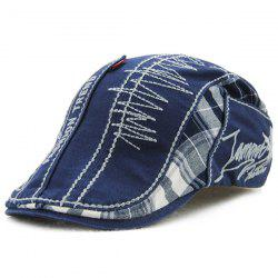 Sewing Thread Tartan Newsboy Cap with Embroidery - BLUE