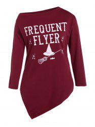 Plus Size Skew Neck Frequent Flyer Print T-Shirt - WINE RED 3XL