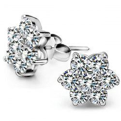 Faux Zircon Flower Stud Earrings
