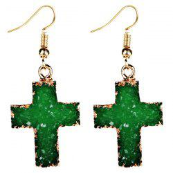 Artificial Gemstone Cross Drop Earrings - GREEN