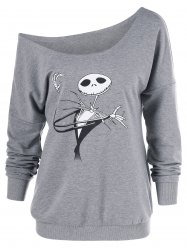 Skew Collar Graphic Halloween Sweatshirt