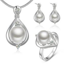 Teardrop Rhinestone Faux Pearl Jewelry Set