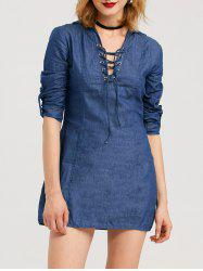Mini Lace-Up Long Sleeve Denim Tunic Dress
