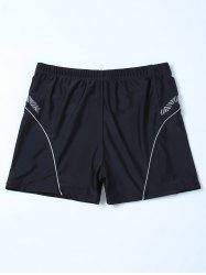 Chevron Graphic Contrast Swim Bottom Boyshorts