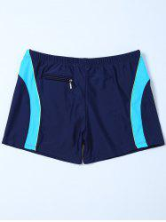 Contrast Insert Zipper Design Swim Bottoms Boyshorts - PURPLISH BLUE 2XL