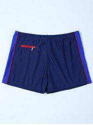Zipper Design Contrast Panel Swim Bottoms Boyshorts -
