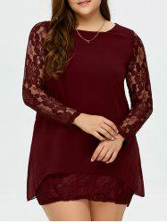 Plus Size Floral Lace Insert Layered Dress