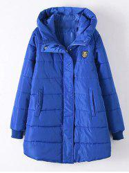 Plus Size Appliqued Hooded Padded Quilted Coat - ROYAL