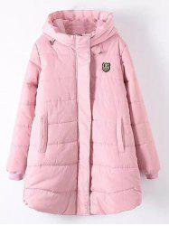 Plus Size Appliqued Hooded Padded Quilted Coat - SHALLOW PINK