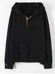 Plus Size Kangaroo Pocket Button Decorated Hoodie