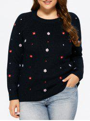 Plus Size Floral Embroidered Knit Sweater -