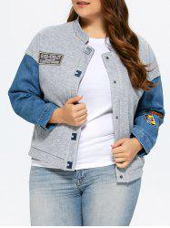 Plus Size Single Breasted Denim Trim Jacket