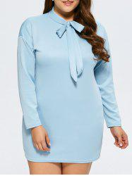 Plus Size Bow Tie Long Sleeve Dress -