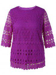 Plus Size Openwork Lace Top -