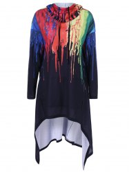 Asymmetrical Splatter Paint Hoodie - COLORMIX XL