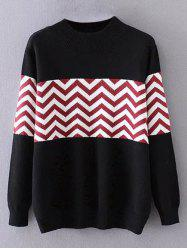 Plus Size Pullover Wave Striped Crew Neck Sweater - BLACK