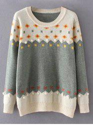 Plus Size Color Block Patterned Sweater - LIGHT GREEN 3XL