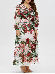Floral Plus Size V Neck Maxi Dress with Sleeves
