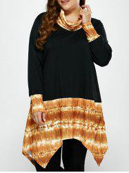 Plus Size Cowl Neck Asymmetrical Print Tee