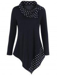 Polka Dot Plus Size Asymmetrical Tee - BLACK