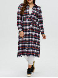 Plus Size Plaid Maxi Shirt