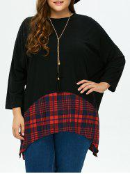 Plus Size Asymmetric Plaid Blouse