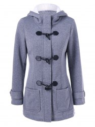 Hooded Duffle Coat with Pockets -
