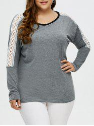 Plus Size Drop Shoulder Crochet Tee -