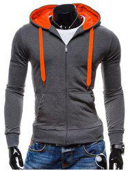 Pocket Front Drawstring Zip Up Hoodie