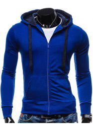 Pocket Front Drawstring Zip Up Hoodie - BLUE