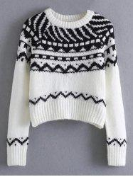 Pullover Crew Neck Tribal Cropped Sweater -