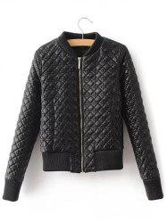 Slim Quilted Fake Leather Bomber Jacket -