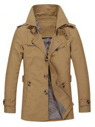 Turndown Collar Single Breasted Epaulet Trench Coat - DARK KHAKI 3XL