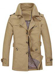 Turndown Collar Single Breasted Epaulet Coat - LIGHT KHAKI